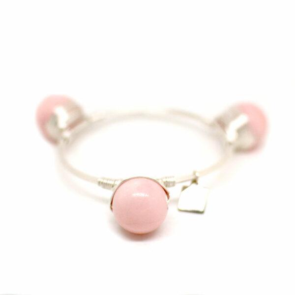 pink Jade Silver Bangle