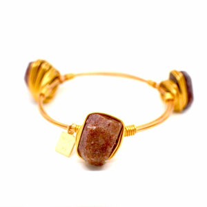 Ruby Quartz Gold Bangle