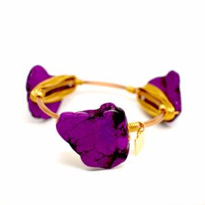 Purple cracked turquoise Gold bangle