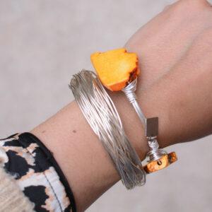orange turquoise bangle