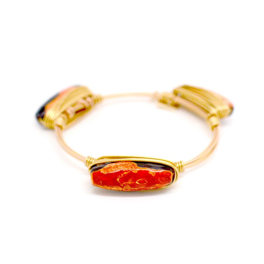 orange fire agate bangle