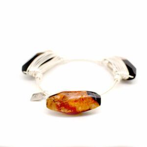 fire agate bangle silver