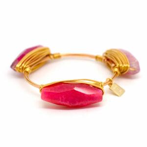 Fuscia Agate Gold Bangle