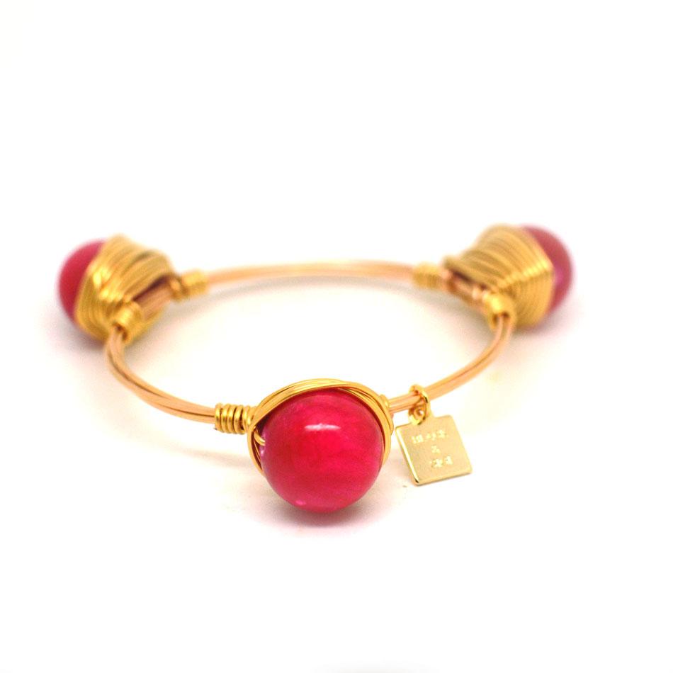 mashan jade pink gold bangle