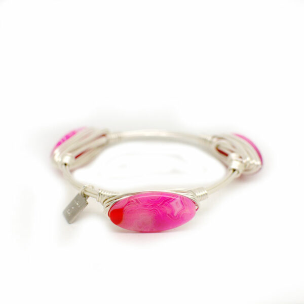 Pink Agate Silver Bangle