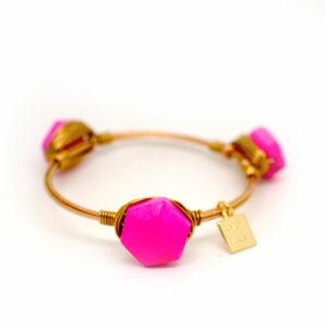 pink turquoise gold bangle