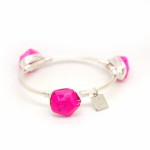 Pink Turquoise Silver Bangle